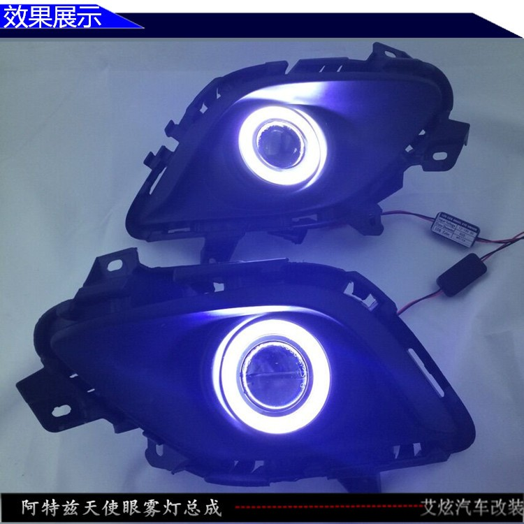 eOsuns cob ангел глаз светодиодные фары дневного света DRL + галогеновые Противотуманные фары + объектив проектора для Мазда 6 атенза 2013-14