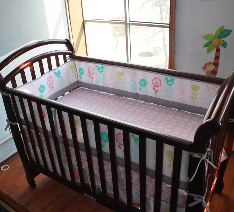 7pcs Embroidery Crib set girls baby Bedding sets Baby Bumpers ,include(4bumpers+duvet+bed cover+bed skirt) botanical embroidery zip back skirt