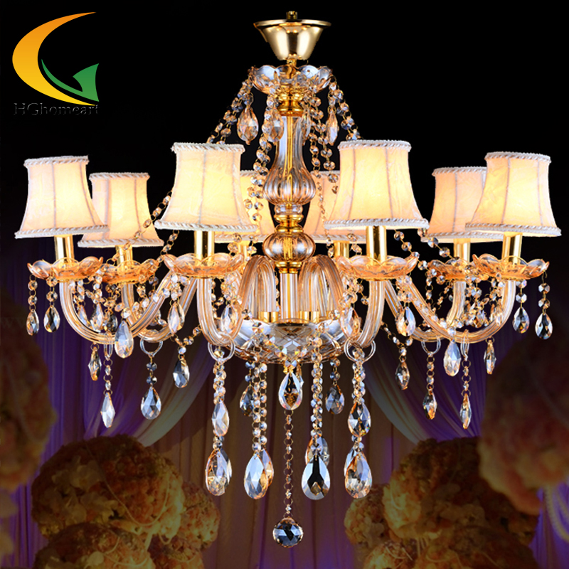 European crystal amber gold hanging lighting living room dining modern minimalist LED lamps bedroom luxury chandeliers