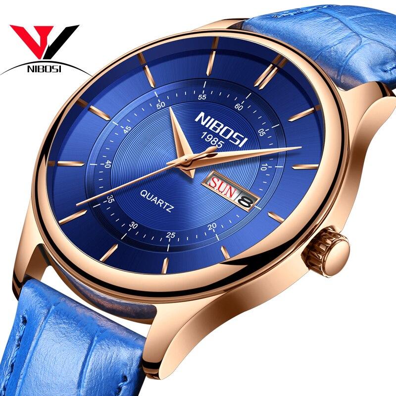 Relogio NIBOSI Watch Men Waterproof Leather And Steel Band Men Watch Date Day Blue Wrist Watch Analog Quartz Fashion Male Clock цена и фото