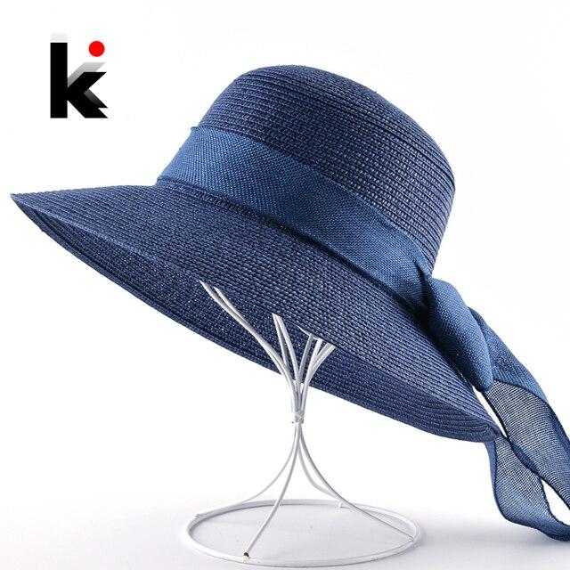 27c8f0d455f82 Women s Summer Straw Hat Bow-Knot Sea beach Hats Wde Brim Sun Cap Women UV  Protection Floopy Panama Hat Ladies Chapeau Feminino