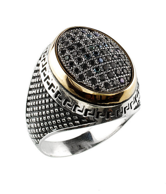 Turkish Ottoman Men Black Gold Crystal Ring Vintage India Style