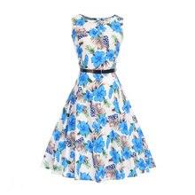 Fenghua Womens Summer Dresses 2017 Summer Sexy Elegant Vintage Dresses Audrey Hepburn Floral Print Party Dress Brazil vestidos