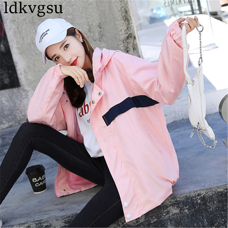 2019 New Coat Women Spring Autumn Korean Short bf Harajuku loose High Baseball Uniform Hooded   Basic     Jackets   Outerwear V316
