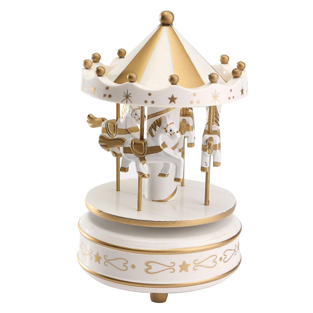 Wind Up Wooden Horse Roundabout Carousel Musical Box Kid Birthday Christmas Gift Color:Glod