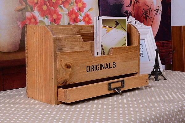 1PC 2016 Zakka grocery wooden office desk bins file storage box Vintage Postcard box with drawer