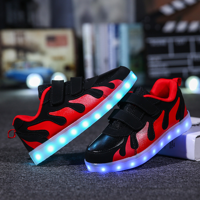 Eur28-37// USB charger children basket led shoes kids with lights up glowing lighted shoes luminous sneakers for girls&boys