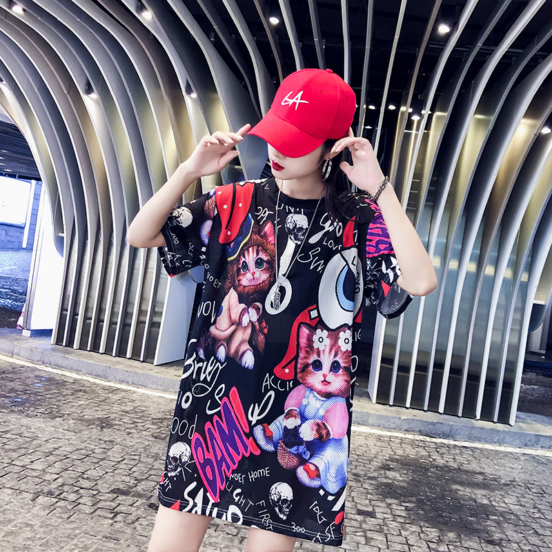 M Harajuku style street fashion trend print dress Korean version of the kitten