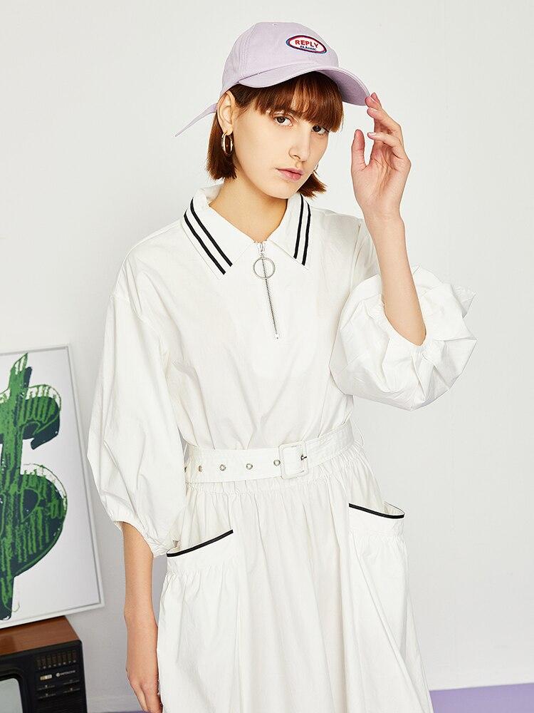 Toyouth 2019 New Women Summer Turn Down Collar Sport Casual Dress Half Lantern Sleeve Waist Belt