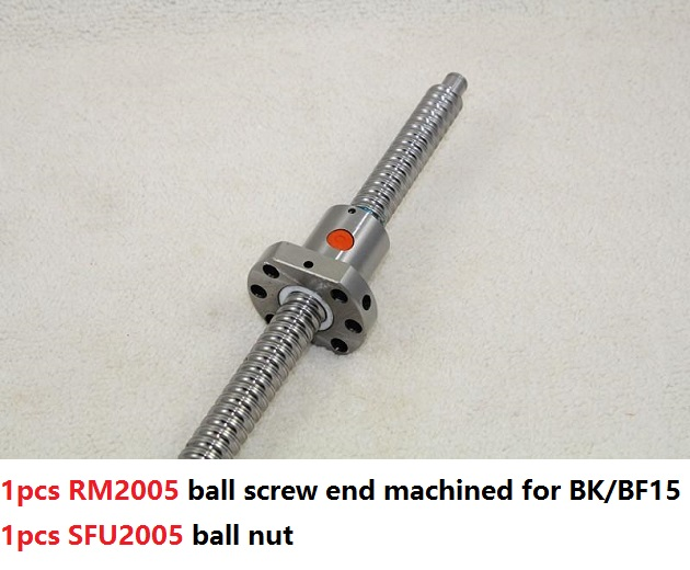 1pcs RM2005 1200mm/1300mm/1400m long ball screw guide way with end machined+ 1pcs SFU2005 single ball nut for CNC router 1pcs sfu2005 ball screw l 1200mm 1pcs ballscrew nut