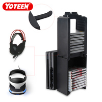 Yoteen Game Storage 24 Game Disk Multifunction Stand Dock for PS4 Slim PS4 Pro PS4 Xbox One with Dual Controller Charger