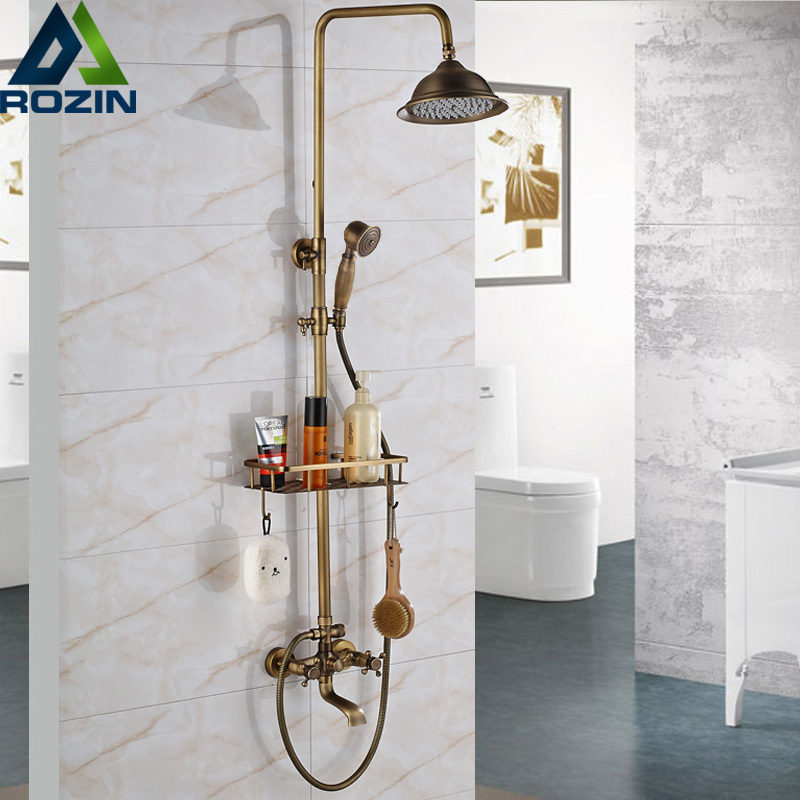 Antique Brass Shower Faucets Set Commodity Shelf and Hooks Dual Handles Wall Mounted Bath Shower Mixers with Swivel Tub Spout quyanre antique brass shower faucets set 8 rainfall shower head commodity shelf handle mixer tap swivel tub spout bath shower