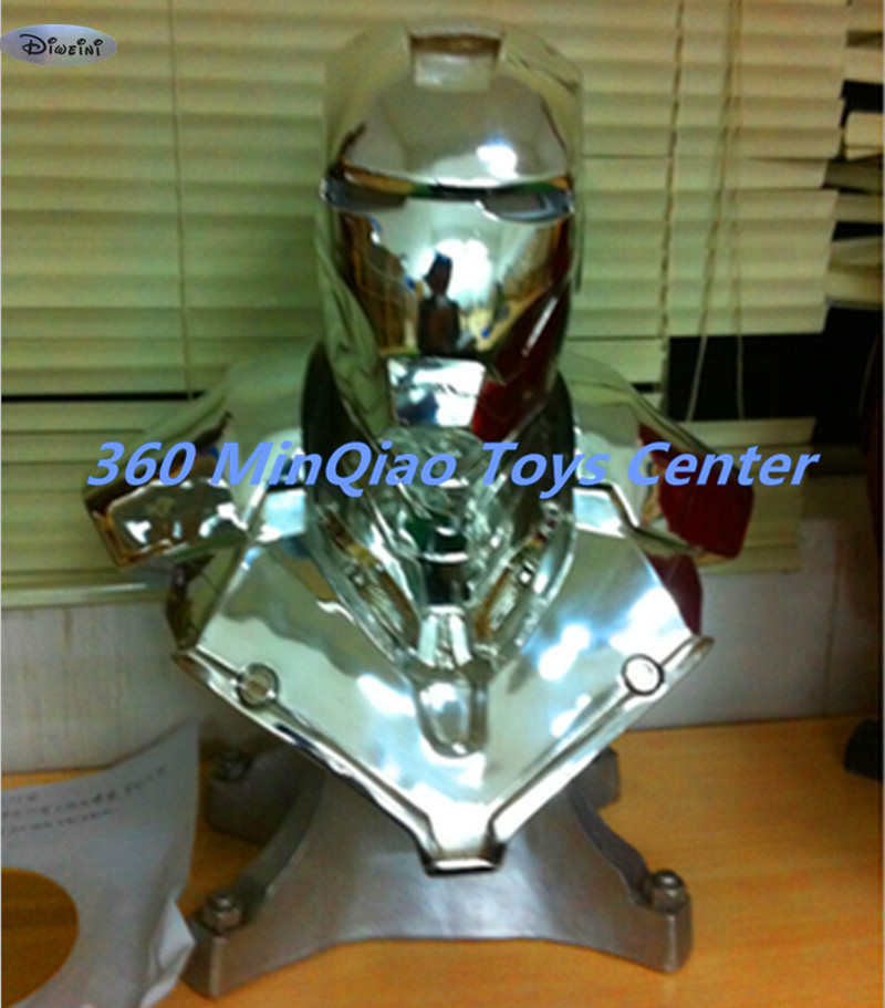 Statue Avengers 1:1 Iron Man Bust MK2 MKII CLEAN Statue (LIFE SIZE) Electroplating  Half-Length Photo Or Portrait WU786 statue avengers captain america 3 civil war iron man tony stark 1 2 bust mk33 half length photo or portrait with led light w216