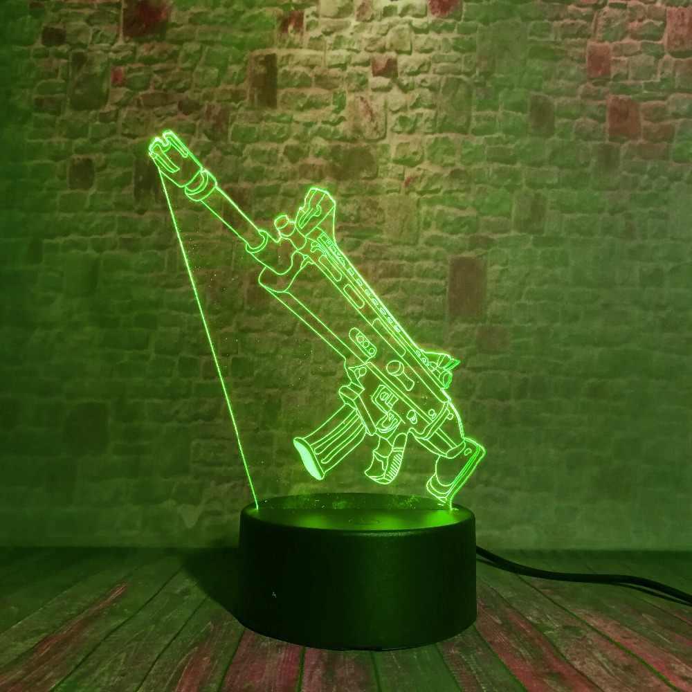 3D Batalha Arma Rifle Sniper Arma Silenciosa CICATRIZ M4A1 LED 7 Cores Toque Decoração da Luz Da Noite de Volta À Escola meninos Do Presente Do Natal
