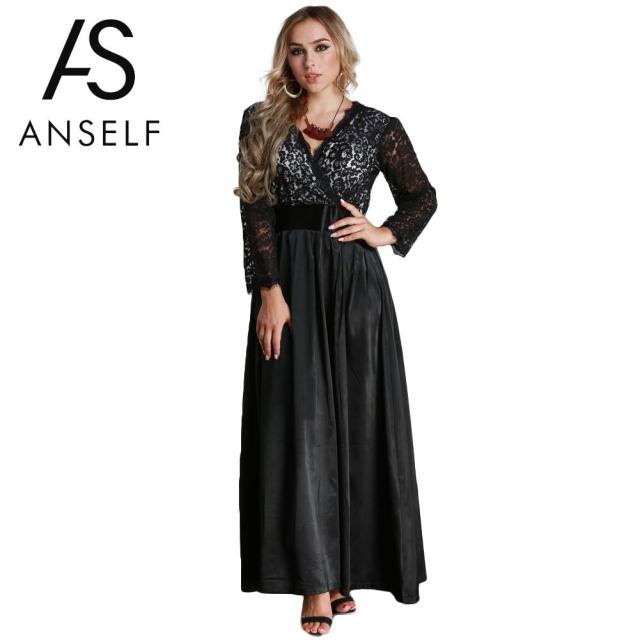 52be997df89 ANSELF Autumn 5XL 6XL Plus Size Lace Dress Woman Long Sleeve Maxi Dress V  Neck Satin Waist Evening Party Dress female Gown Black