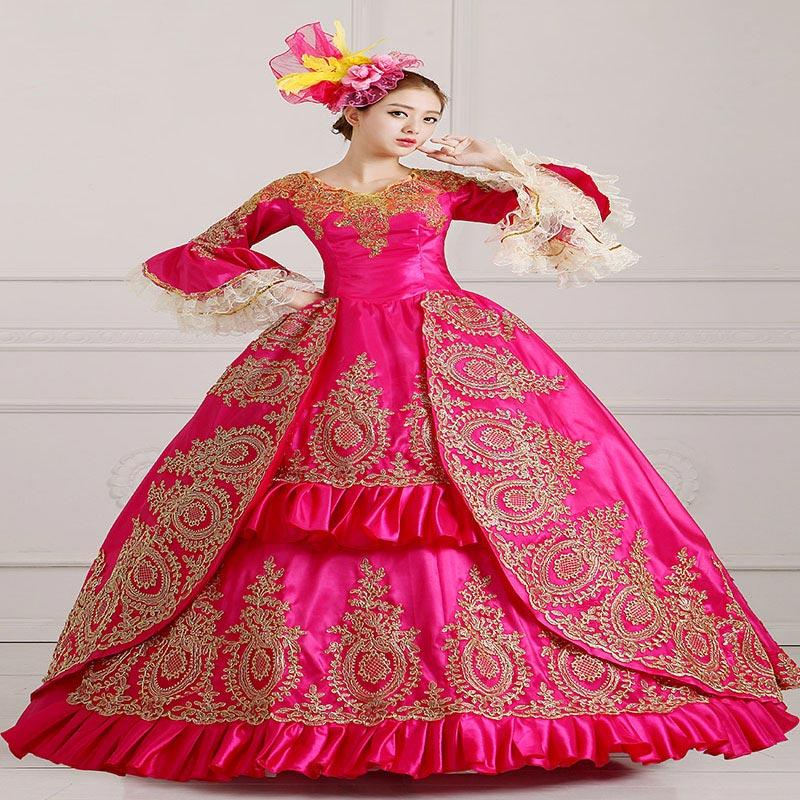 Индивидуальные Красная Роза V образным Вырезом В Стиле Рококо Платье Принцессы Хэллоуин Золотые Аппликации Кружева Мария Антуанетта Бальн