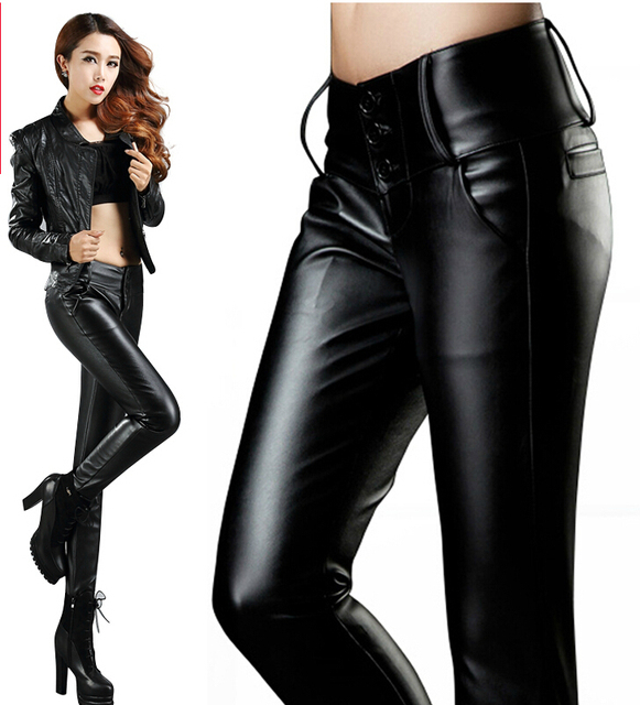 8d9f8f146928 Plus Size Women Clothing xxxl Korean all-Match Fashion Popular leather  Pants