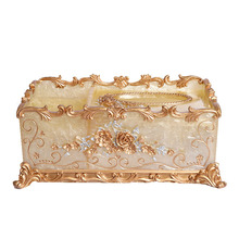 Luxury European style resin creative home accessories retro coffee table living room pumping tray multi-functional storage box