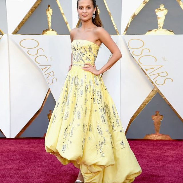 a9eed1831001 Sparking 88th Academy Awards 2017 Yellow Alicia Vikander celebrity dresses  The Oscars Celebrity Dress Women Evening