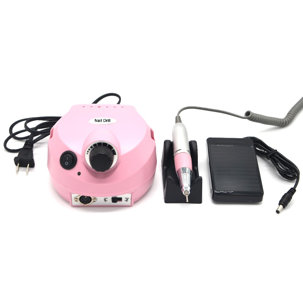 35000RPM Electric Pink Nail Drill manicure and pedicure nail art drill pen Machine file nail tools 6 drill bits new 65w 35000rpm electric nail drill machine file kit bits manicure pedicure nail drill machine with ceramic nail drill head