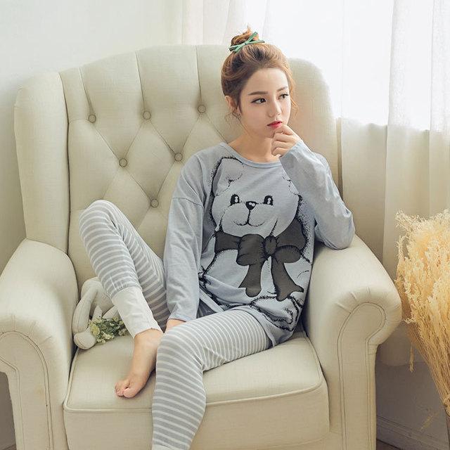 8ac44474aa 2017 new spring cotton Korean girl cartoon bear pajamas Ms.long sleeved  casual pyjamas women