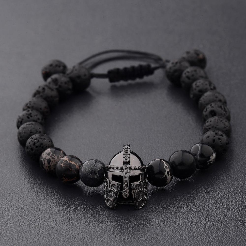 Punk Helmet Charm Bracelet For Men Women Gift Party Vintage Black Bracelet Jewelry Adjustable