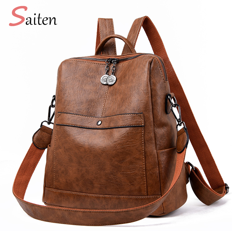 Saiten High Quality Leather Woman's Backpack New 2019 Fashion Backbag Female Large Capacity School Bag Mochila Feminina