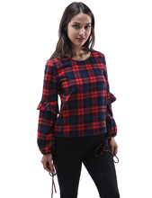 2017 Hot Sale Ruffles Autumn Winter Ladies Female Casual Long-Sleeve Plaid Shirt Women Slim Outerwear Blouse Bow Tops Clothing