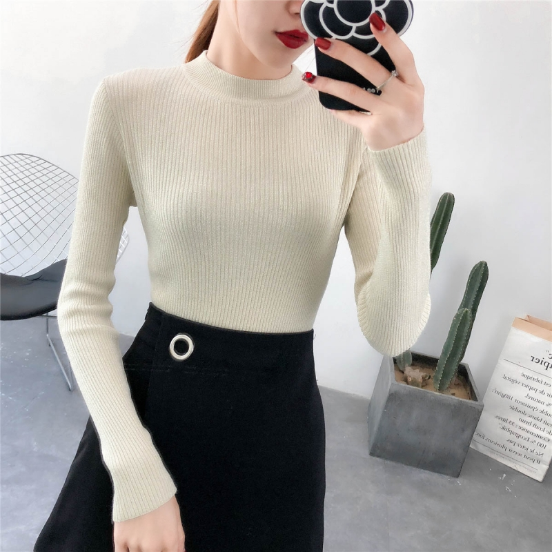 New 2018 Korean Shiny Lurex Autumn Winter Turtleneck Sweater Women Pullover  Knitted Sweaters Long Sleeve Casual Women Knit Tops 8c4a333cb