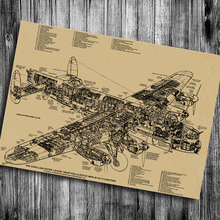 Vintage Kraft Paper Retro Poster Aircraft Mechanical Sketch
