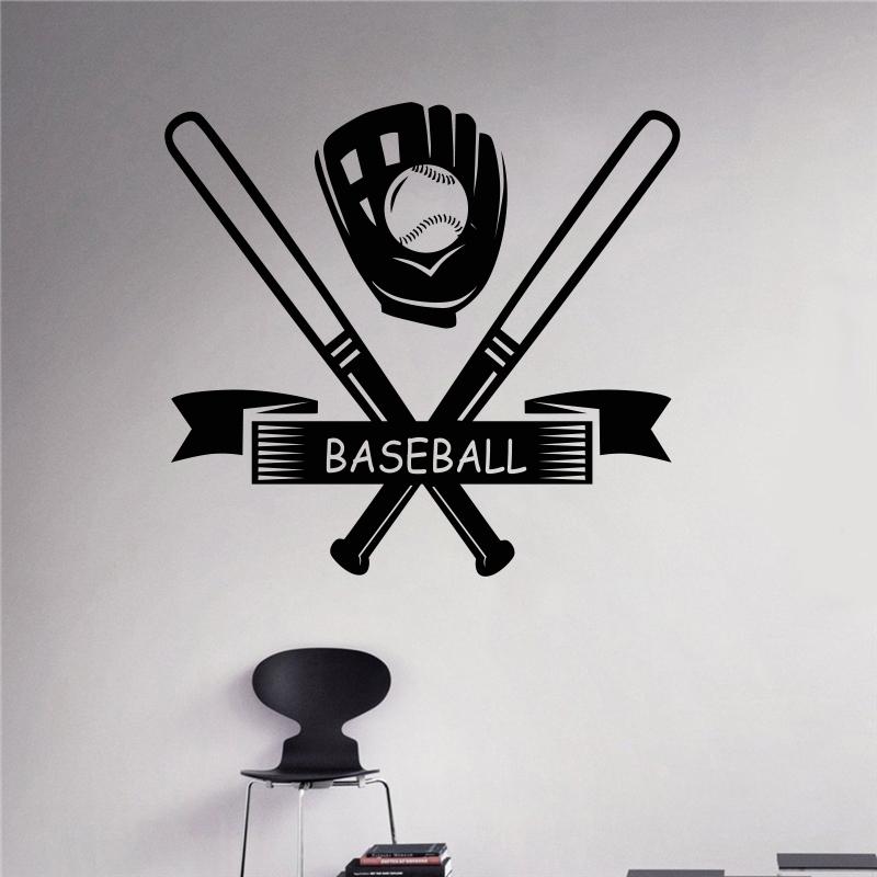 bates de bisbol deporte juego del vinilo tatuajes de pared sticker home interior extrable murales de