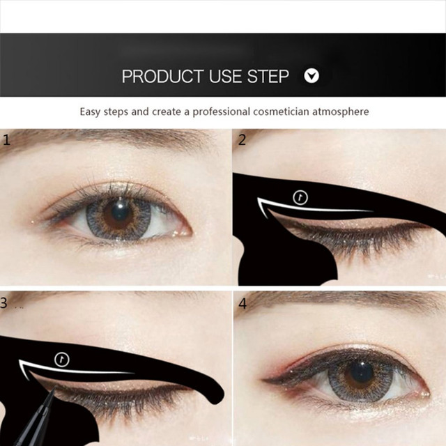 2pcs/set Women Cat Line Eye Makeup Eyeliner Unique Stencils Templates Makeup Tools Kits For Eyes Eyeliner Beauty 2