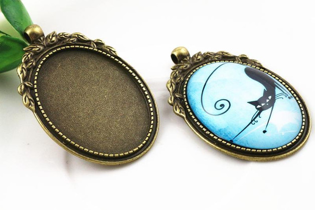 New Fashion  2pcs 30x40mm Inner Size Antique Bronze Flowers Style Cabochon Base Setting Charms Pendant (B1-21)