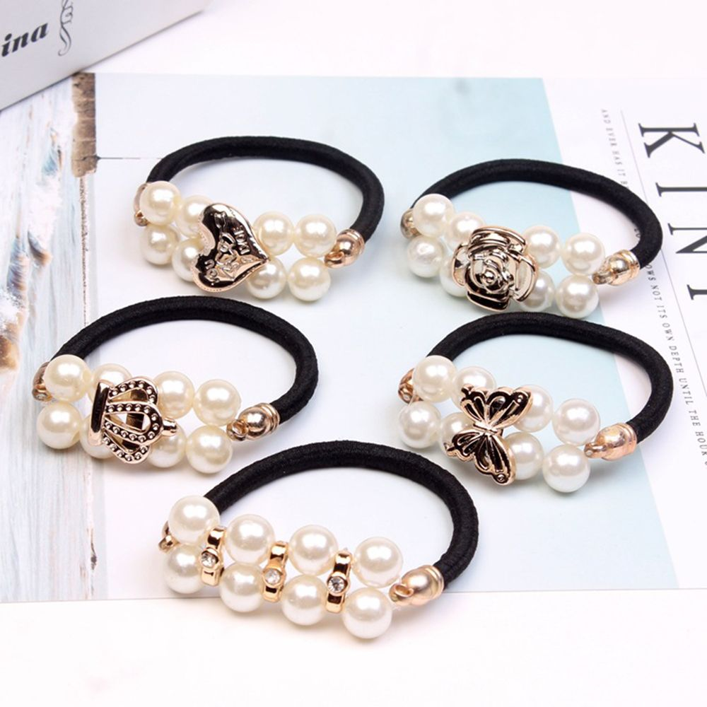 Pearls Beads Headbands Ponytail Holder Girls Scrunchies Vintage Elastic Hair Bands Rubber Rope Headdress Hot Sale