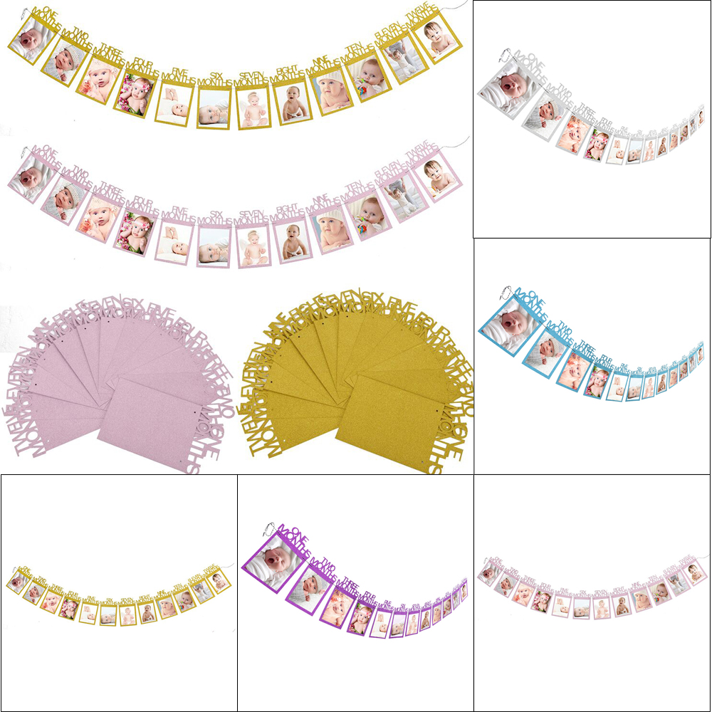 DIY Photo Flag 12 Months Photo Wall Flags 6 Colors Banner Baby Photo ...