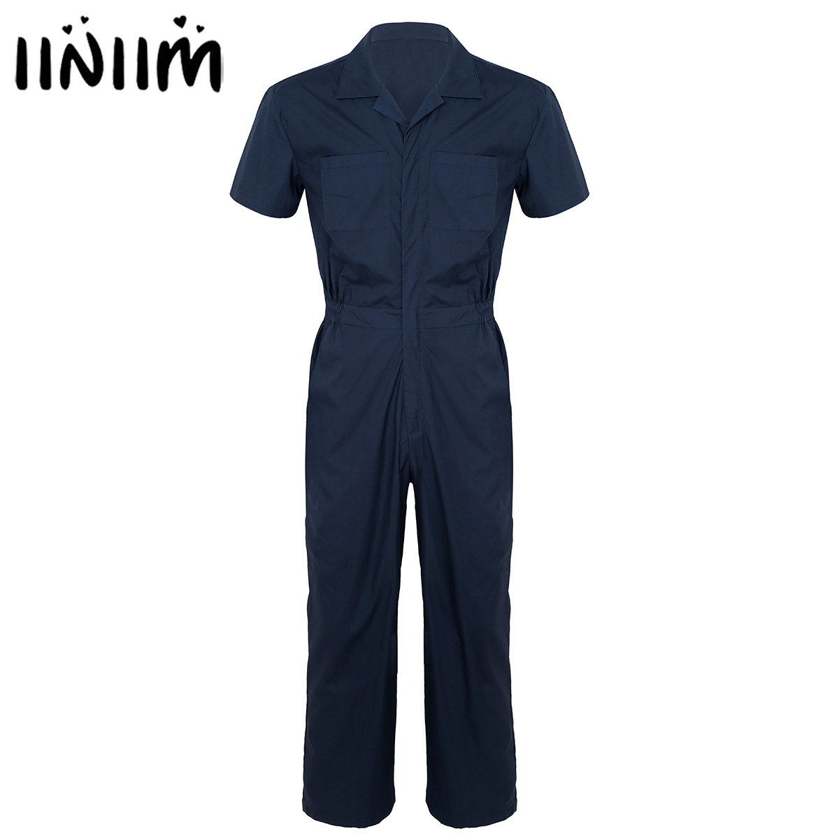 Mens Fashion Overalls Streetwear Pants Turn Down Collar Mens Clothing Zipper Front Loose Jumpsuit Rompers Suits with Pockets