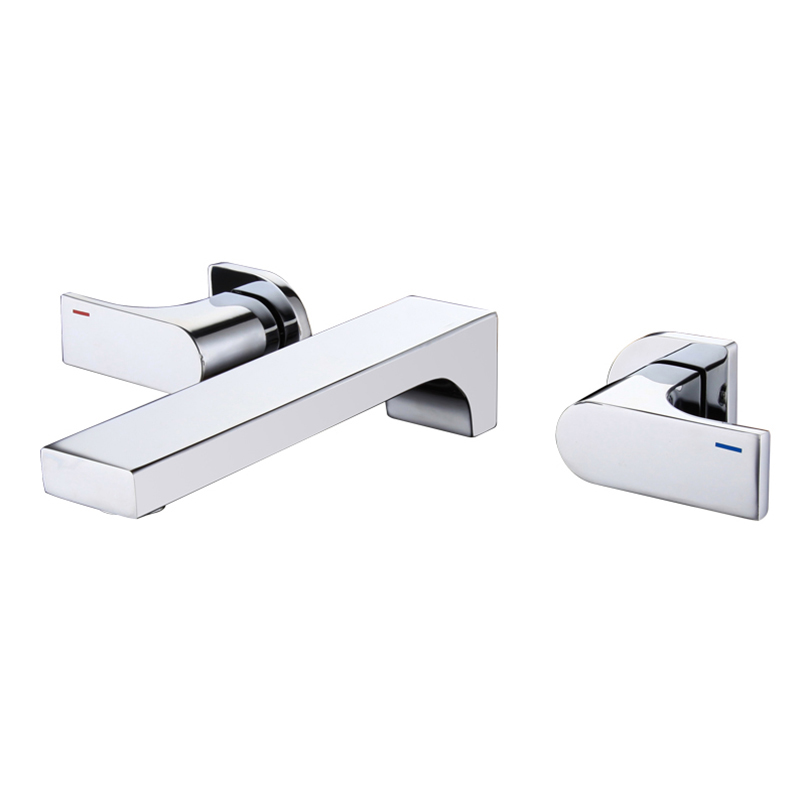 Free shipping Widespread Contemporary Bathroom Basin Sink Waterfall Faucet Wall Mounted Mixer Tap Hot and Cold Water BF546 free shipping wholesale and retail golden big c shape widespread deck mounted waterfall bathroom basin sink faucet