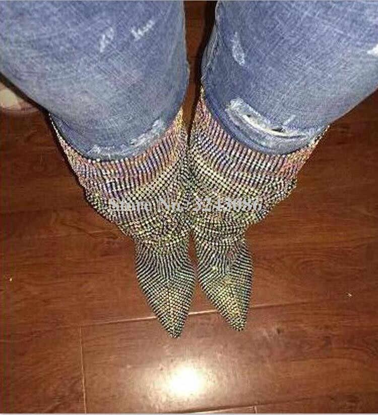 Yeni Glitter başak topuklu kristal diz yüksek kadın uzun çizmeler Bling taklidi şövalye çizmeler seksi sivri burun Shinning bayan patik