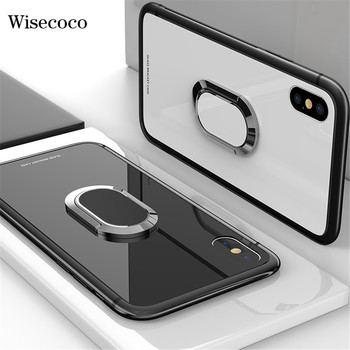 Luxury Magnetic Ring Holder Case For Iphone X 8 7 6 6S Plus 360 Stand Magnet Car Bracket Frame Tpu + Tempered Glass Back Cover iPhone XS