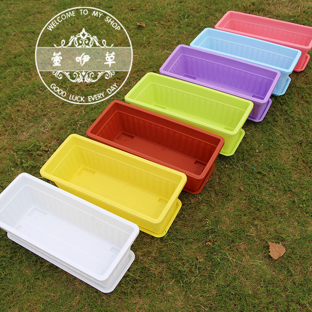 Large Colorful Plastic Planter Rectangular Planter Boxes Flower Pot