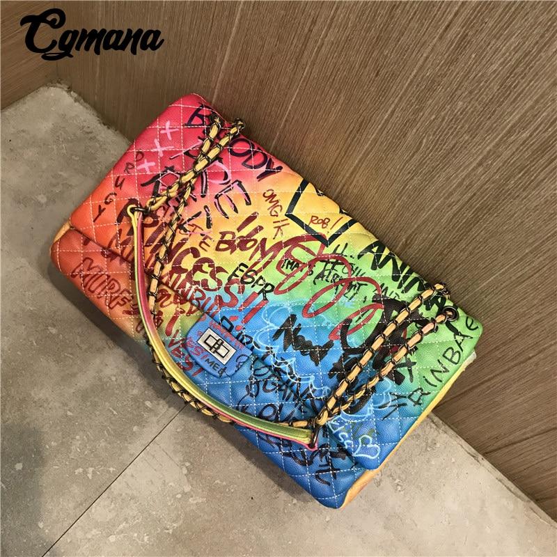 CGmana Women Bag 2018 New Color Graffiti Printed Shoulder Big Bags Fashion Large Travel Bags Women Brand Luxury Chain Handbags