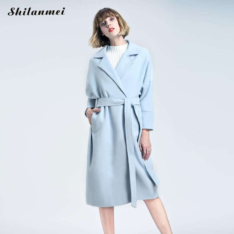 2017 Winter Wool Long Cardigan Coat Women With Belt Sky Blue/Pink Open Stitch Cloak Thicken Ladies Jacket Coats fashion Manteau