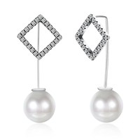 UFOORO S925 Sterling silver fashion popular ear nail Charm White Peral Earring Jewelry pave With Clear Zircon