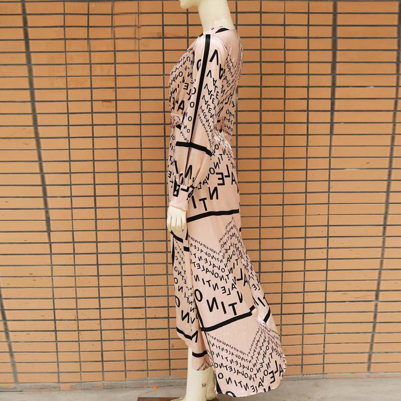 Women Letter Print Sexy V-Neck Thigh Slit Maxi Dress Long Sleeve Elegant Boho Beach Dress Casual Long Dresses 4