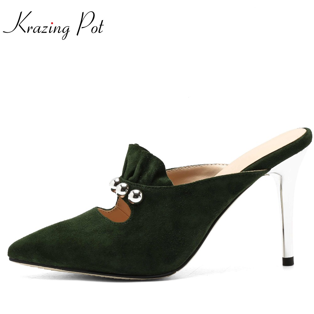 Krazing Pot 2018 high street fashion sheep suede mature slip on pointed toe concise super high heels brand mules pumps shoes L33 krazing pot shoes women fashion sheep suede bowtie pointed toe preppy style stiletto high heels pumps slip on fairy mules l05