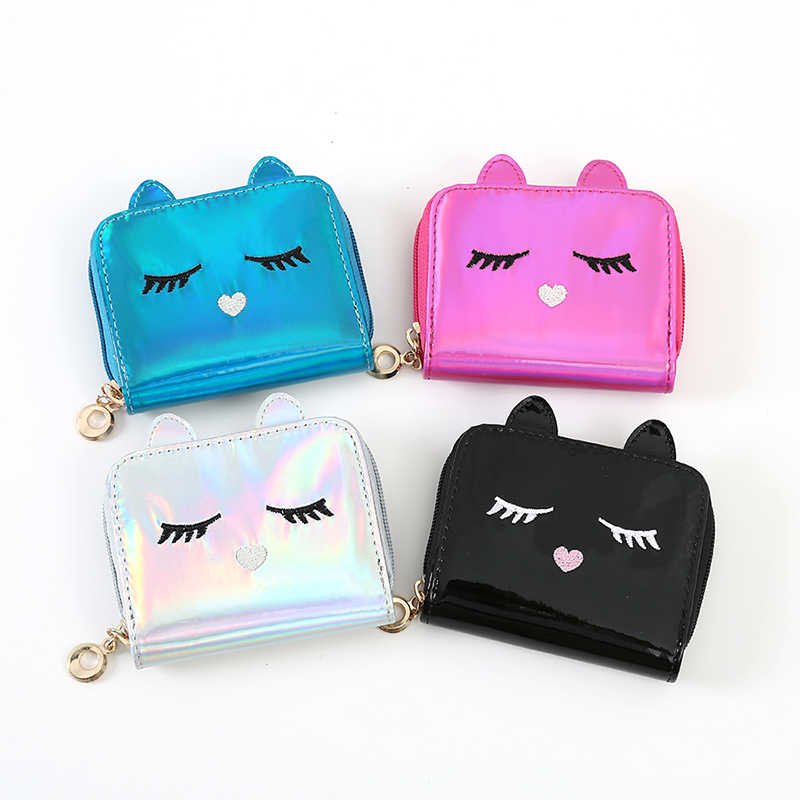 New Female Laser Short Women Cute Cat Hologram Small Coin Purse Pu Leather  Zipper Card Holder 4fcc8791f3f1