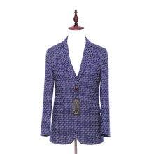 Plaid Pattern Wool Slim Blazer