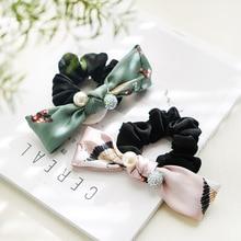 Korea Silk Crystal Pearl Print  Elastic Hair Bands Elegant Accessories For Girls Rubber Band Gum Tie Women