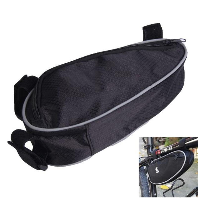 Black Cycling Bicycle <font><b>Bike</b></font> <font><b>Bag</b></font> Accessories 2020 Front Tube Frame Pocket <font><b>Bag</b></font> For Bicycle Pouch For CellPhone Bisiklet Aksesuar image