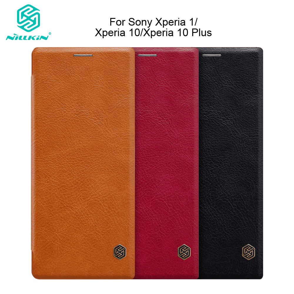 Nillkin for <font><b>Sony</b></font> <font><b>Xperia</b></font> 1 for <font><b>Xperia</b></font> <font><b>10</b></font> <font><b>10</b></font> Plus <font><b>Case</b></font> Vintage Qin Ultra Flip PU Leather <font><b>Cover</b></font> <font><b>Case</b></font> With Card Slot 6.5